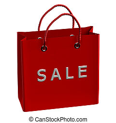 Red shopping bag with word sale