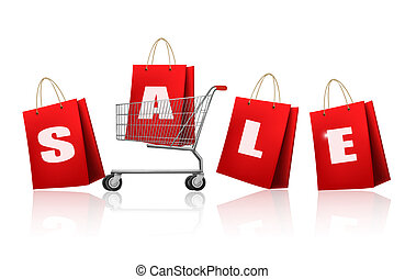 Red shopping bags with sale. Concept of discount. Vector illustration.