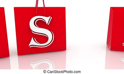 Red shopping bags with yes and no concept