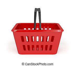 Red shopping basket - Empty red shopping basket on white ...