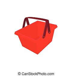 Red shopping basket icon, cartoon style