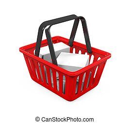 Red Shopping Basket isolated on white background. 3D render