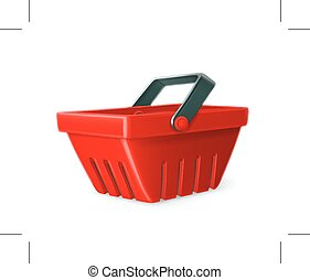 Red shopping basket - Red shopping basket vector icon,...
