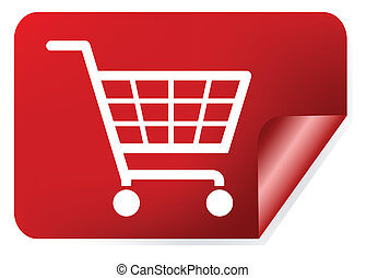 Red shopping basket sign
