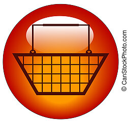 red shopping basket web button or icon - vector