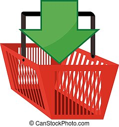 red shopping basket with green arrow