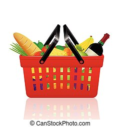 Red shopping basket with groceries