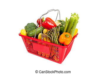 Red shopping basket with vegetables on white - Red shopping...