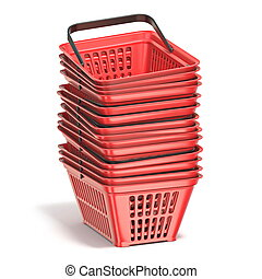 Red shopping baskets 3D render illustration isolated on...