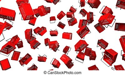 Red Shopping baskets on white background. Loop able 3D...