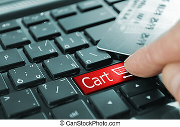 red shopping cart button