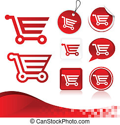 Red Shopping Cart Design Kit