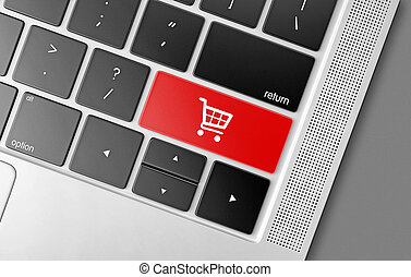 Red shopping cart key on a black computer keyboard