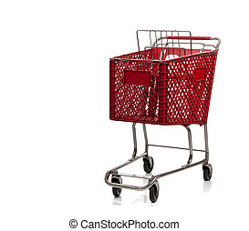Red shopping cart on white