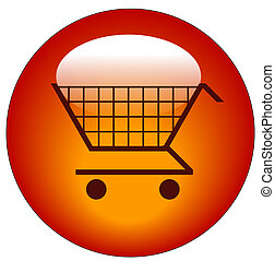 red shopping cart web button