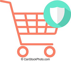 red shopping cart with green shield icon