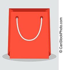 Red shopping paper bag, flat design vector illustration