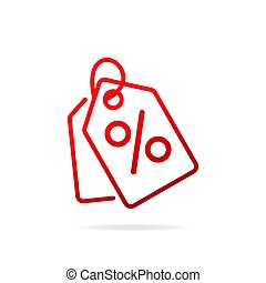 Red Shopping tags simple line icon. Special offer sign.