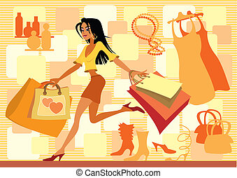 Red shopping - Vector illustration of girl with shopping...