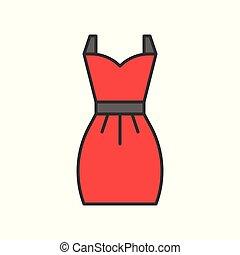 red short dress, filled color outline editable stroke