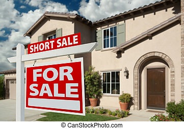 Red Short Sale Real Estate Sign and House.