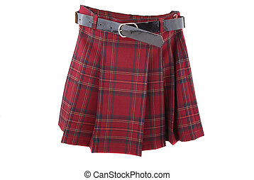 skirt - Red short skirt with folds and a black belt
