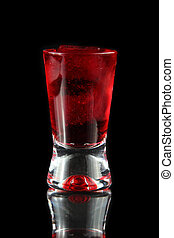 red shot on black background