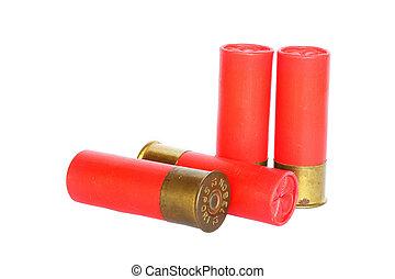 Red shotgun ammo on white background
