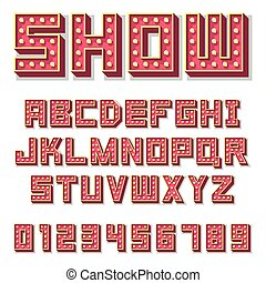 Red show business alphabet with bulb lamps