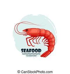 Red shrimp seafood restaurant label with splash and text isolated on white background. Sea water animal icon. Design element for emblem, menu, logo, sign, brand mark