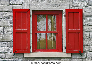 Red Shutters - Red Window shutters, grey stone wall