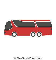 Red shuttle bus with black windshield art isolated on white....