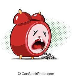 sick alarm clock - red sick alarm clock spews his digits