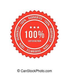 Red sign 100 percent satisfaction guarantee. Flat vector illustration EPS 10
