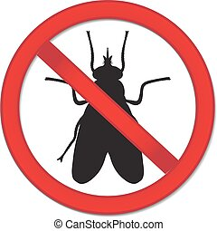 Red sign ban fly. Stop sign of an insect. Vector...