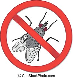Red sign ban fly. Stop sign of an insect. Vector illustration