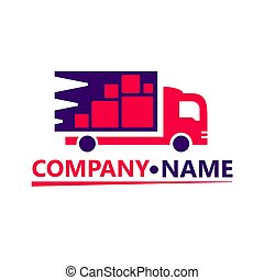 Delivery truck flat vector icon isolated on white.