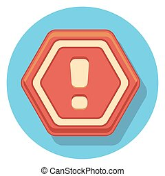red sign flat icon in circle.eps
