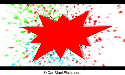 Red sign over colorful confetti background.