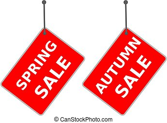 """red sign """"spring sale"""" and """"autumn sale"""" tag on white background."""