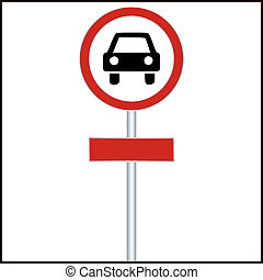 Red Sign with Car - vector illustration