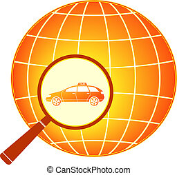 modern taxi car in magnifier with p