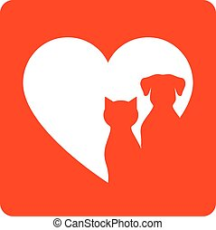 red sign with pet and heart - red veterinary sign with pet...