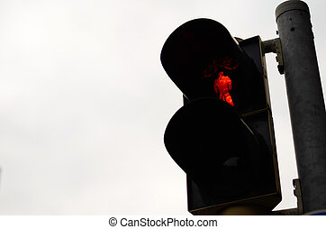 Red signal of a traffic light