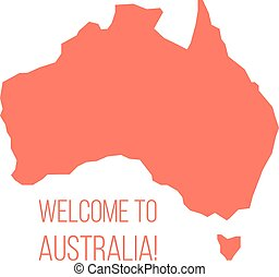 red silhouette of Australia with inscription welcome