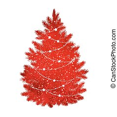 Red silhouette of Christmas tree