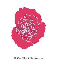 Red silhouette of rose, vector icon