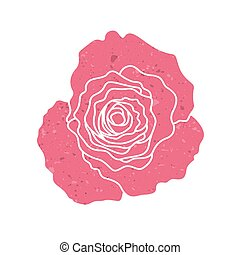 Red silhouette of rose, vector illustration isolated on white background