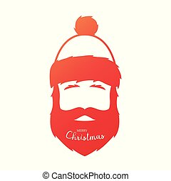 Red silhouette of Santa Claus on a white background.