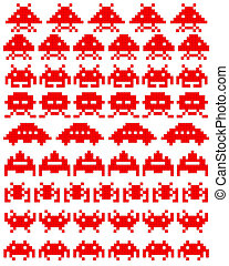 Red silhouettes of space invaders on a white background